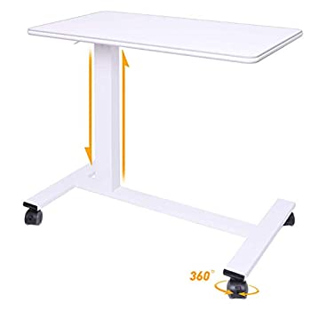 CHIFONG Reinforced Adjustable Overbed Table with Lockable Wheels - Hospital Bed Side Table - Portable Notebook Laptop Desk C Side Table for Bed Chair Office Hospital Home - Height   29 -44