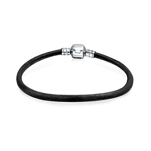 Bling Jewelry Pulsera Simple de Cuero Negro Genuino para Las Mujeres para el Encanto de Entrada se Adapta a Las Cuentas Europeas de Plata de Ley 6.5 Pulgadas