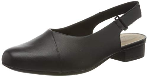 Clarks Damen Juliet Pull Slingback Sandalen, Schwarz (Black Leather Black Leather), 37 EU