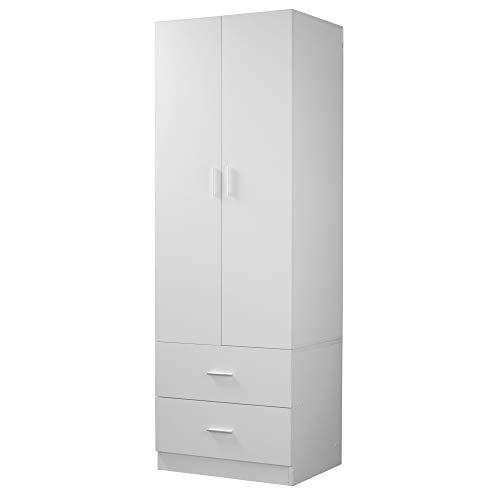 Orlando Wooden 2 Door With 2 Drawers Kids Wardrobe Bedroom Storage Hanging Bar (White)