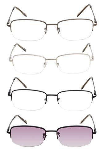 Reading Glasses 5 Pairs Half-rim Metal Eyeglasses Women Men Include Computer Readers (4 Pairs Mix,+0.75)