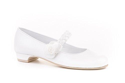 Zapatos de niña Fabricados en Piel para comunión con tacón. Calzado de niña Hecho a Mano - MiPequeña Modelo 998v Color Beige.