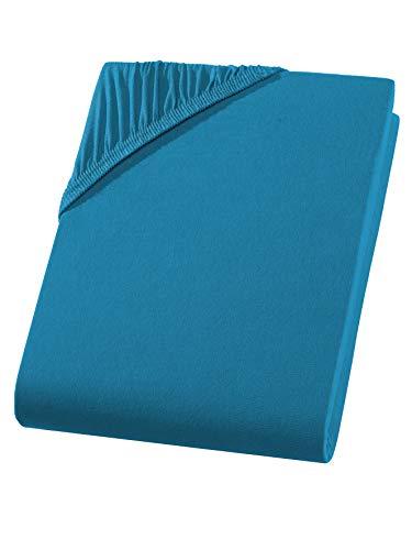 Exclusive Split Topper-Spannbettlaken | Spannbetttuch 160 g/m² | Ideal für getrennt verstellbare Topper | ÖKO-TEX® - 100% Baumwolle | (Split-Topper 10cm Steghöhe | 180/200x200 cm, Petrol)