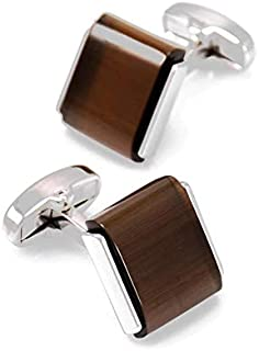 Cufflinks for Men Decorated with Natural Tiger Eye Stone