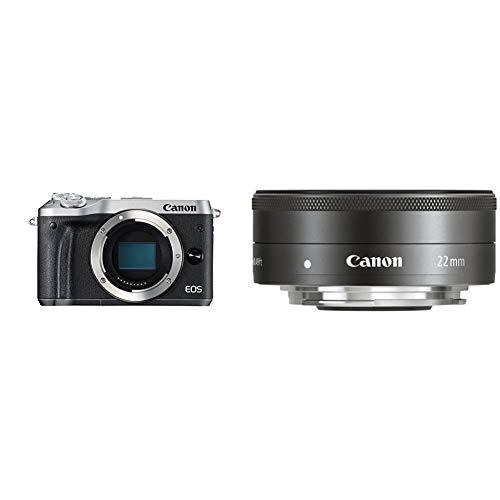 Canon EOS M6 Cámara Evil de 24.2 MP (Pantalla táctil de 3.0'', DIGIC 7, NFC, Dual Pixel CMOS AF, Bluetooth, 5 Axis Digital IS, Full HD, WiFi) Plata + EF-M 22 mm f/2 STM Objetivo para
