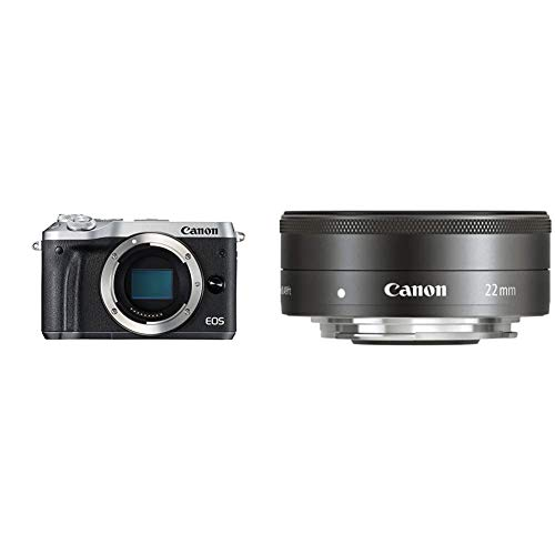 Canon EOS M6 Cámara Evil de 24.2 MP (Pantalla táctil de 3.0'', DIGIC 7, NFC, Dual Pixel CMOS AF, Bluetooth, 5 Axis Digital IS, Full HD, WiFi) Plata + EF-M 22 mm f/2 STM Objetivo para