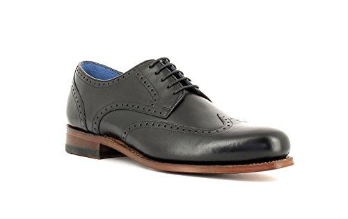 Gordon & Bros Herrenschuhe Levet 5428 Klassischer rahmengenähter Schnürhalbschuh mit Oxford Schnürung im Brogue Stil für Anzug, Business und Freizeit Schwarz (Torino Black Leather), EU 42