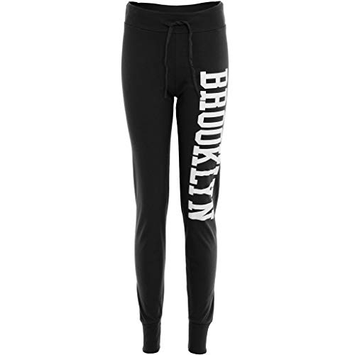 Damen Jogginghose Brooklyn Aufdruck Hose Verstellbarer Gummizug Stretch Jogginanzug Trainingsanzug Trainingshose - Schwarz, EU 40/42
