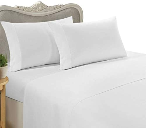 Eastern King Size, White Solid/Plain, 1500 Thread Count / 1500TC Sateen Weave Long Staple 100-Percent Ultra Soft Egyptian Cotton 4 Piece Bed Sheet Set. Inlcudes 2 Pillow Cases (DeepPocket)