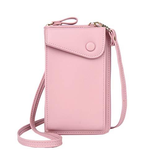 TENDYCOCO Frauen Kleine Leder Crossbody Telefon Tasche Kartenhalter Brieftasche Umhängetasche (Rosa)