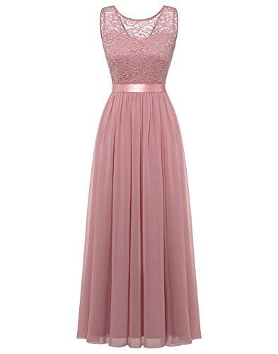 BeryLove Damen Abendkleid Elegant Cocktailkleid Lang Brautjunferkleid Chiffon Spitzen Kleid Hochzeit Party BLP7025 Blush M