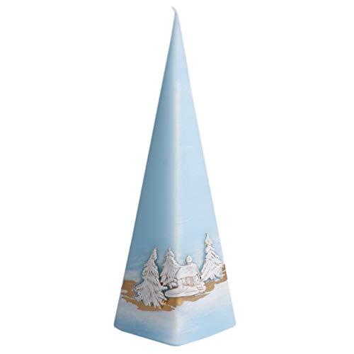 Kerze Deko Pyramidenform eisblau Snow 04162 Relief 230 mm