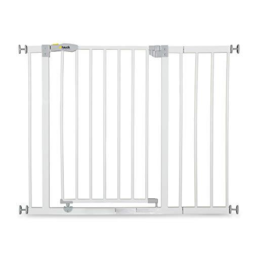 Hauck Türschutzgitter / Treppenschutzgitter für Kinder Open N Stop Safety Gate inkl. 21 cm Verlängerung / ohne Bohren / 96 - 101 cm breit / erweiterbar / Metall Gitter - weiß