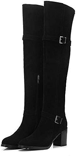 HAOLIEQUAN Les Femmes De Plus De La Plate-Forme Toutes Les Bottes De Haute De Genou Amtch Zipper Bottes d'hiver Bottes Femmes Chaussures en Daim Vache Grande Taille 34-39