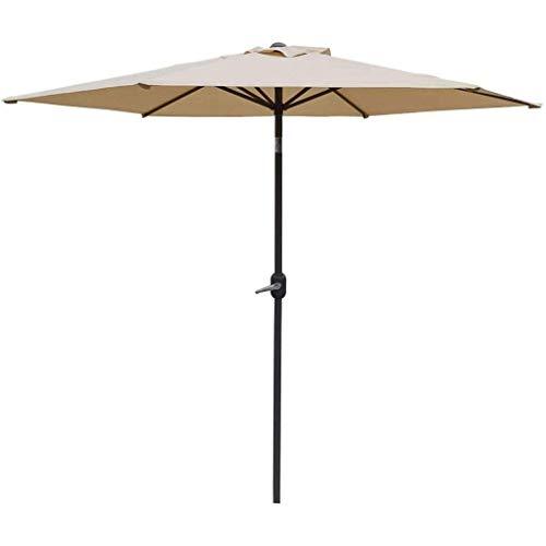 SJBD-Coaster Sombrilla de Playa, 6 Varillas, jardín, Patio, sombrilla portátil con Material Repelente al Agua y protección UV, sombrilla de Playa para Vacaciones al Aire Libre, 2,7 m (tamaño: Caqui)