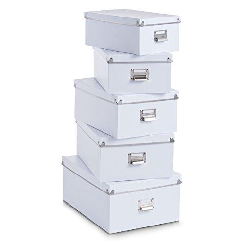 Zeller 17951 Boxen-Set, 5-tlg., Pappe, weiß, ca. 40 x 29 x 17 cm, 38 x 27,3 x 15,5 cm, 35,5 x 24,5 x 14,5 cm, 33,5 x 22,5 x 13,5 cm, 30,5 x 19,7 x 12,5 cm