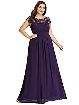 Ever-Pretty Womens Plus Size Long Maxi Formal Dance Evening Dresses Purple US 20