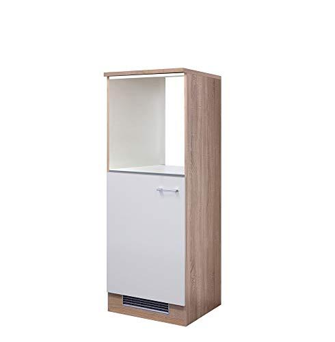 Demi-Geräteumbauschrank für Backofen+Kühlschrank 60cm Weiß/Sonoma Eiche - Salerno