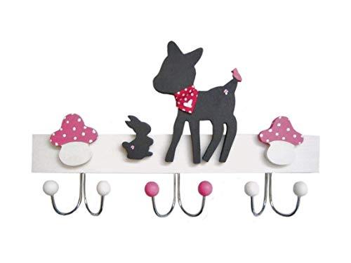 Kindergarderobe, Garderobe Reh, Hase und Pilze, handgefertigt, 3 Doppelhaken, Holz, pink