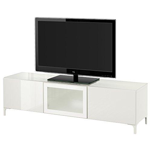 IKEA BESTA TV Bank met deuren wit / Selsviken hoogglans / wit van melkglas