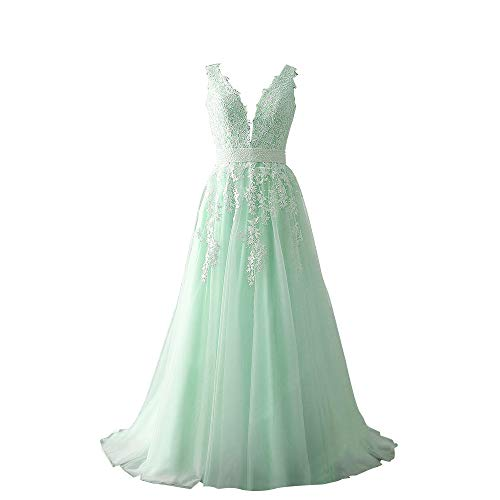 Abaowedding Women's Wedding Dress for Bride Lace Applique Evening Dress V Neck Straps Ball Gowns Mint US 22 Plus