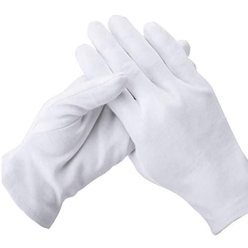 YMWALK 12 pares de guantes de algodón blanco suave para inspección de joyas de monedas, protección y decoración, guantes de trabajo diarios reutilizables para hombres y mujeres (tamaño mediano)