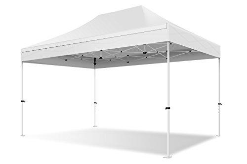 ACTIEXPRESS Tente Pliante 3X4.5 Structure en Acier 30mm Toit 220g/m² 100 étanche (Blanc)