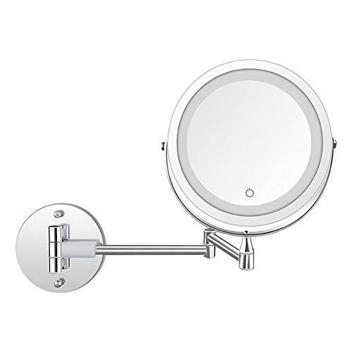 LED cosmetische spiegel, wand- schoonheid make zonder verlichting, wand- badkamer, vouwen intrekbare oplaadbare dubbelzijdige spiegel