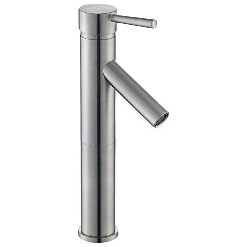 Ultra Faucets Euro Collection Brushed Nickel Single Handle Bathroom Sink Faucet - One Hole Tall Body Deck Mount Lavatory Vessel Sink Faucet With Straight Spout