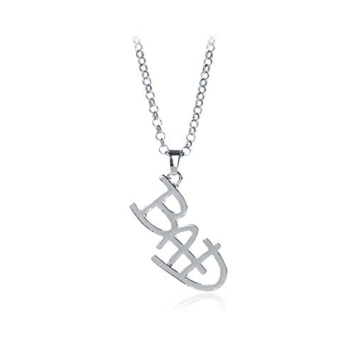 Inveroo New Jewelry Michael Jackson English Letter Bad Necklace Mj Bad Logo Pendant for Men and Women Fans