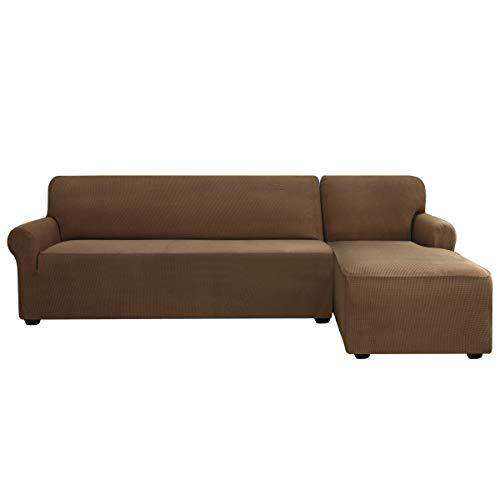 subrtex Sofabezug L Form Stretch Sofahusse Ecksofa Elastisch Antirutsch Eckcouch überwurf Weich Stoff Abwaschbar (Rechts 2 Sitzer, Kaffee-1)