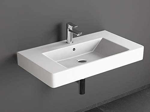 Aqua Bagno Design Waschbecken aus hochwertiger Keramik, Weißes Hängewaschbecken im modernen Stil | 80 x 45 cm