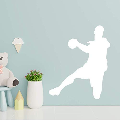 EmmiJules Wandtattoo Handball-Spieler Handballer - Made in Germany - in verschiedenen Größen und Farben - Handball Kinderzimmer Junge Sport Wandsticker Wandaufkleber (60cm x 50cm, weiß)