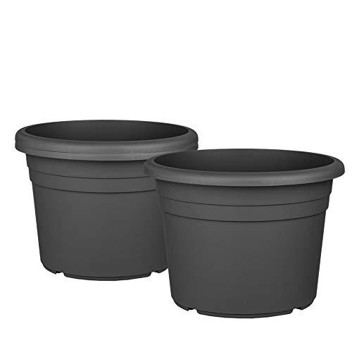 3X Blumentopf Ø 30 cm Farbe Anthrazit Kunststoff Pflanztopf Containertopf Übertopf Pflanzkübel rund 30 x 21 cm