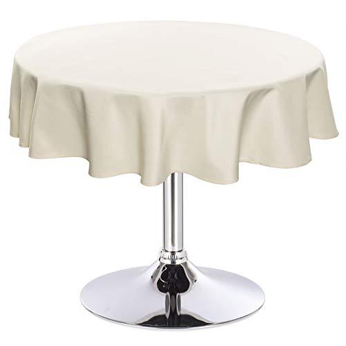 Laneetal 0800071 Tischdecke Leinendecke Leinenoptik Wasserabweisend Lotuseffekt Tischtuch Fleckschutz pflegeleicht abwaschbar schmutzabweisend Rund 160 cm Champagne