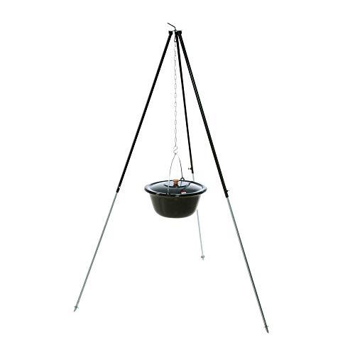 acerto 40206 Original ungarischer Gulaschkessel (30 Liter) + Dreibein-Gestell (180cm) * Emailliert * Kratzfest * Geschmacksneutral | Teleskop-Dreifuß mit Gulasch-Topf, Suppentopf, Glühweintopf