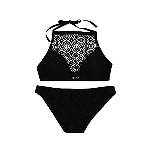 WGG Traje De Baño con Cuello Halter para Mujer Traje De Baño De Bikini Sexy De Dos Piezas Traje De Playa De Cuello Alto Sin Espalda (Color : Negro, Talla : XL)