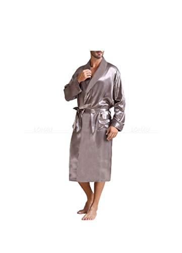 xiao S para Hombre de satén de Seda Pijama de Dormir Robe Batas Albornoz camisón S ~ 3XL, Gris, M