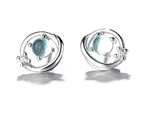 Pendientes de plata de ley 925 con forma de estrella y diamantes para regalar a las señoras