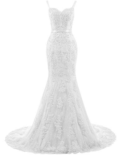 Ballkleider Lang Damen Abendkleider Hochzeitskleider Meerjungfrau Spitze mit Träger Weiß EUR36