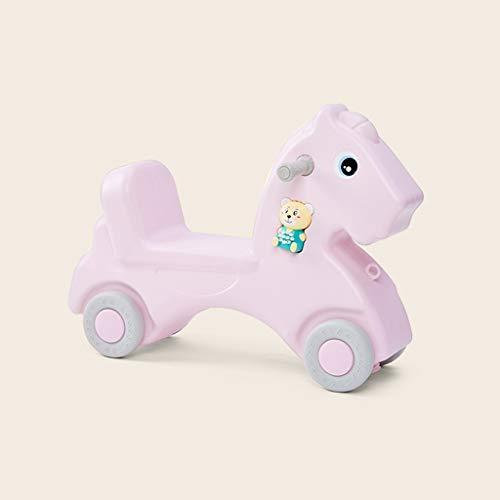 LINGZHIGAN Rocking Horse Twist for Enfants Voiture à Double Usage Musique épaissie Cheval de Troie Baby Toy Ans Cadeau (Color : Small Powder)