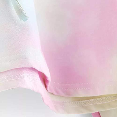 Sudaderas con Capucha Cortas Mujer Tumblr Rainbow Estampado Camiseta de Manga Larga para Adolescentes Chicas - soolike (Sky Blue, S)
