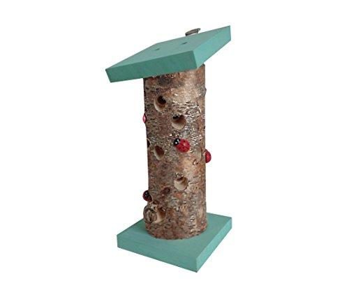Dehner Natura Marienkäferhaus Ladybird, Ø 10 cm, Höhe 24 cm, Birkenholz, türkis/braun