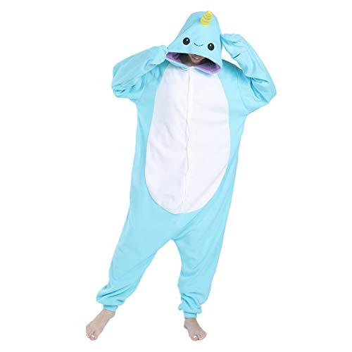 FORLADY Unisex Tier Kostüm für Erwachsene Narwal Cosplay Kostüm Halloween Pyjamas Animal Onesie Adult