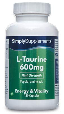 SimplySupplements High Strength L-Taurine 600mg Increase Muscle Mass & Strength 120 Capsules