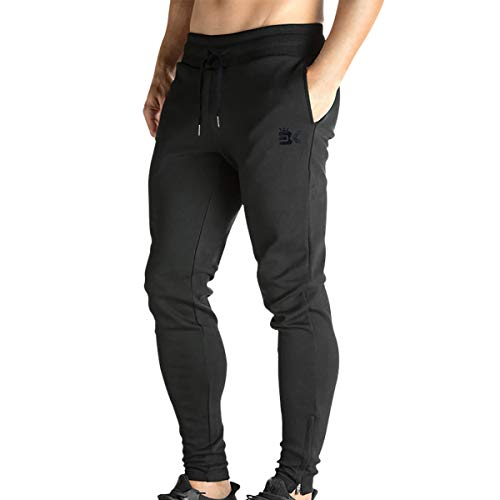 BROKIG Mens Zip Jogger Pants - Casual Gym Fitness Trousers Comfortable Tracksuit Slim Fit Bottoms Sweat Pants with Pockets (Medium, Black)
