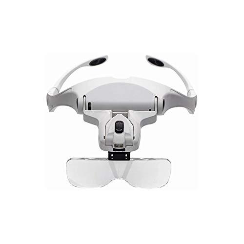 Lupas iluminadas montadas en la cabeza , Lupa de la banda para la cabeza con 5 lentes desmontables 1x a 3,5x Cabeza de zoom de zoom Magnificadora Manos Manos libres Lupa para leer, Reparación de reloj