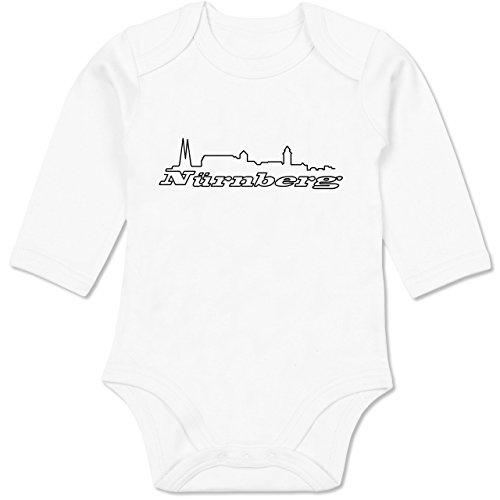 Städte & Länder Baby - Nürnberg Skyline - 3/6 Monate - Weiß - Geschenk - BZ30 - Baby Body Langarm