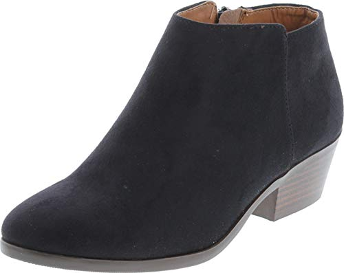 Soda Womens Round Toe Faux Suede Stacked Heel Western Ankle Bootie, Black, 7.5 M US
