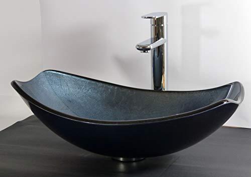 Aufsatz Glas Waschbecken oval eckig blau grau Waschtisch
